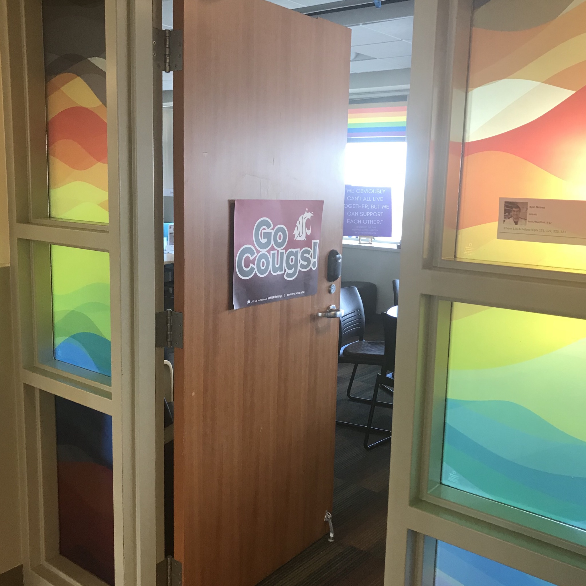 picture of the GIESORC door with a Go Cougs sign on it